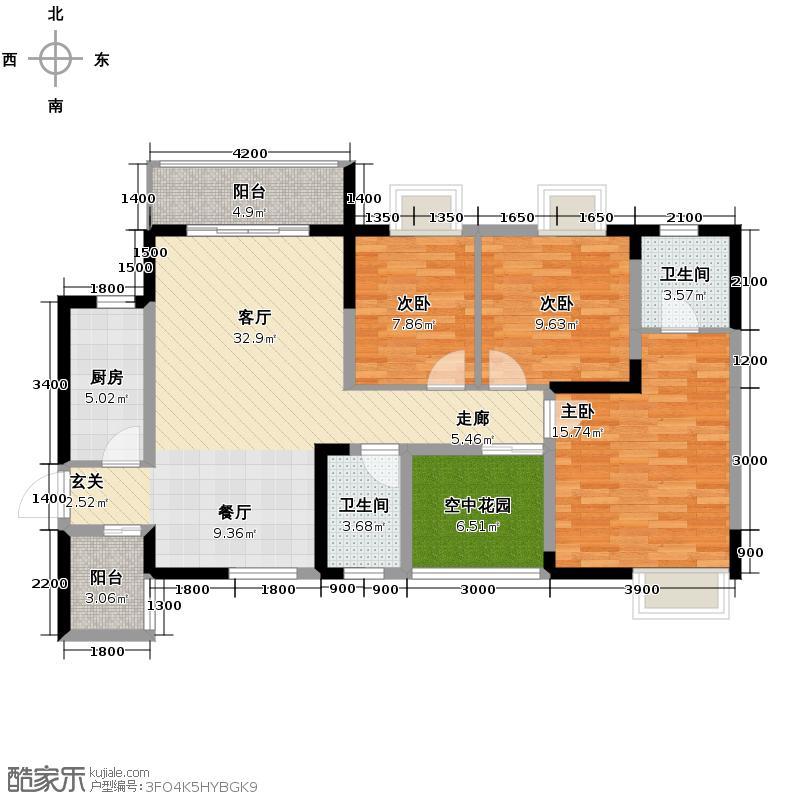 天元涉外景园123.00㎡城郊涉外桃源C1户型10室