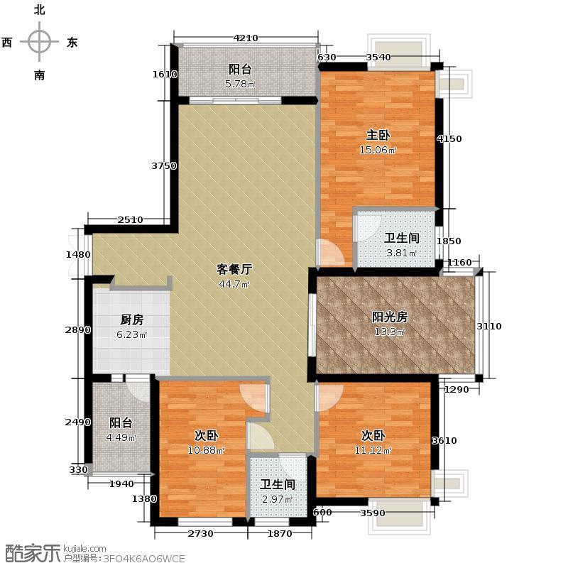 观澜溪谷125.55㎡A户型3室1厅2卫