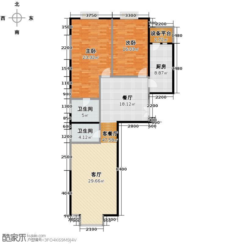 奥东18号116.42㎡南楼D户型2室1厅2卫1厨