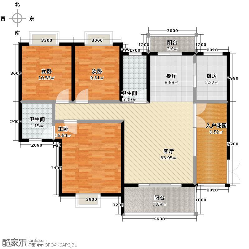 蓝月谷裕源国际山庄134.00㎡户型3室2厅2卫