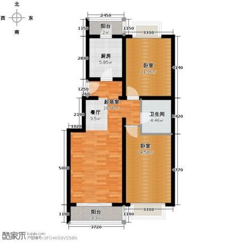 京东领秀城2室2厅1卫0厨88.00㎡户型图