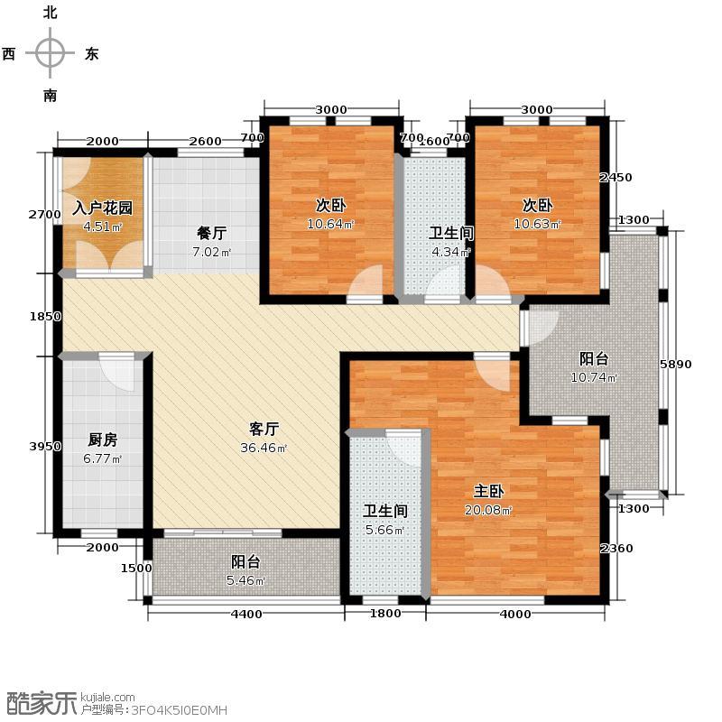 第六都145.00㎡15和16号楼C户型3室2厅2卫