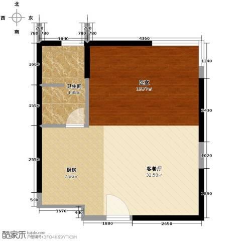 博客山1厅1卫0厨51.00㎡户型图