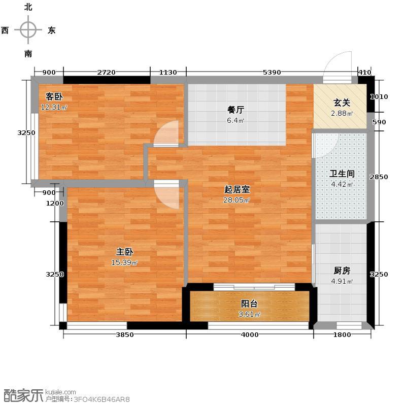 仁恒河滨花园91.00㎡E1户型2室2厅1卫