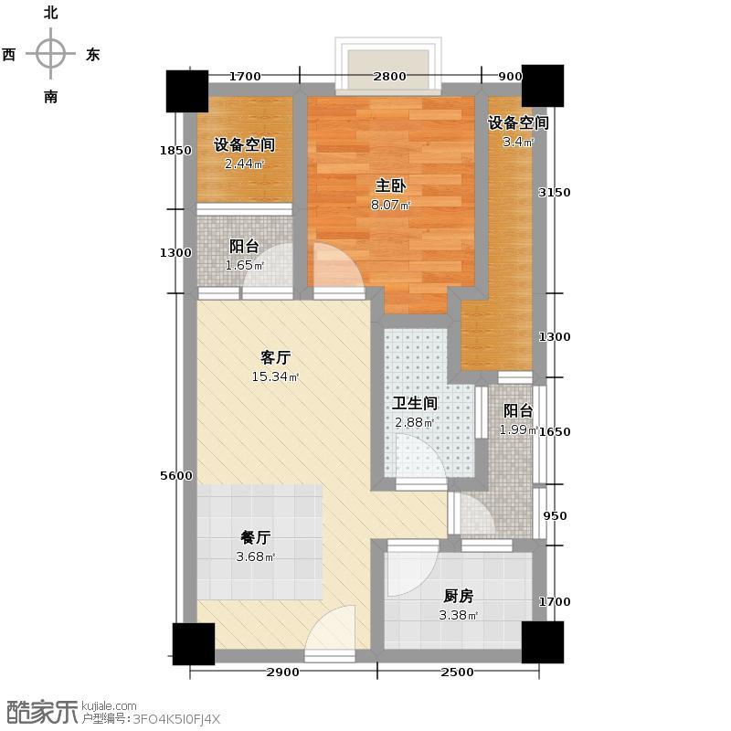 中海部落阁47.23㎡A套一户型1室1厅1卫1厨