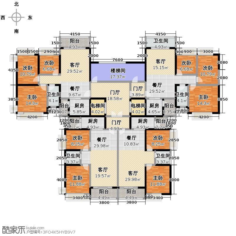 恒大城394.30㎡户型9室4厅5卫4厨