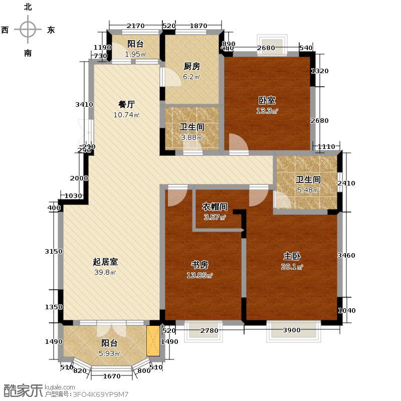 路劲太阳城143.00㎡c户型3室2厅2卫