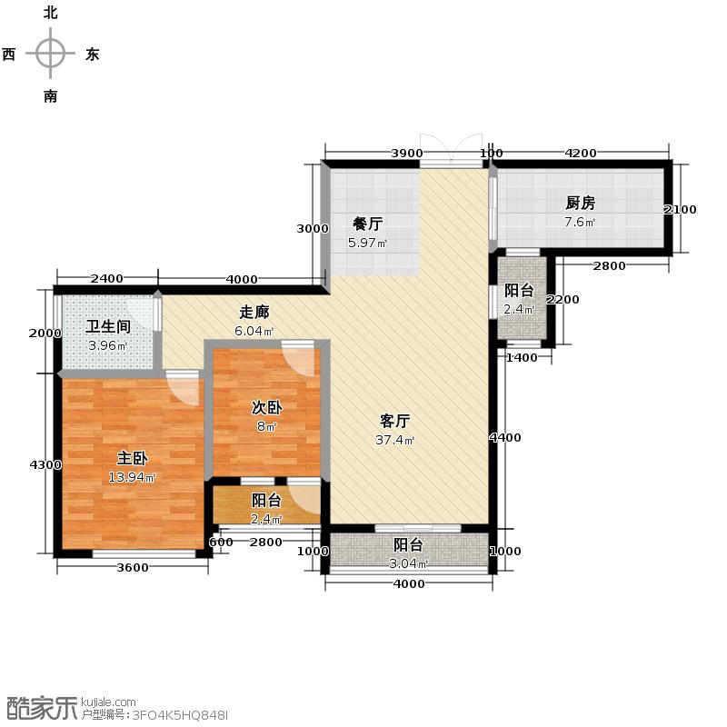 金地京汉1903100.00㎡B2户型2室2厅1卫