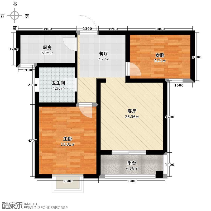 枫逸人家83.74㎡18#楼B户型2室1厅1卫1厨