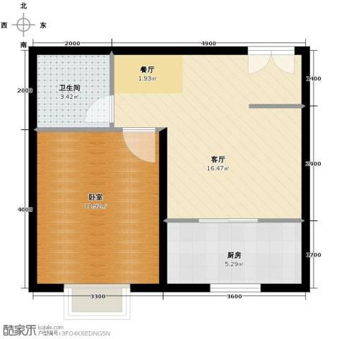 BOBO悠乐城1室2厅1卫0厨56.00㎡户型图