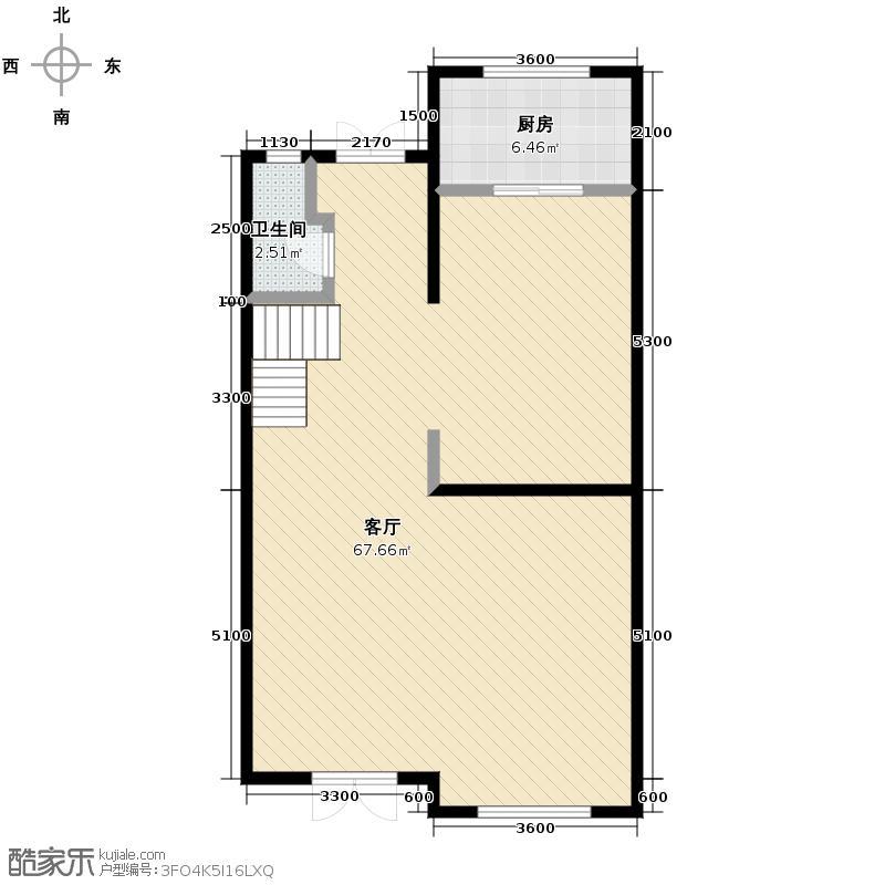 绿地诺丁山110.00㎡n1东-1F户型1厅1卫1厨