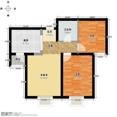 滨海智谛山2室2厅1卫0厨89.00㎡户型图