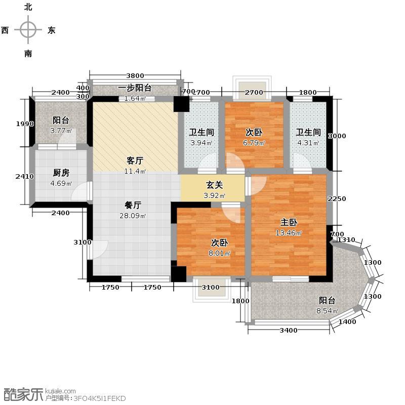 银泰大智嘉园120.56㎡CE-3户型3室1厅2卫1厨