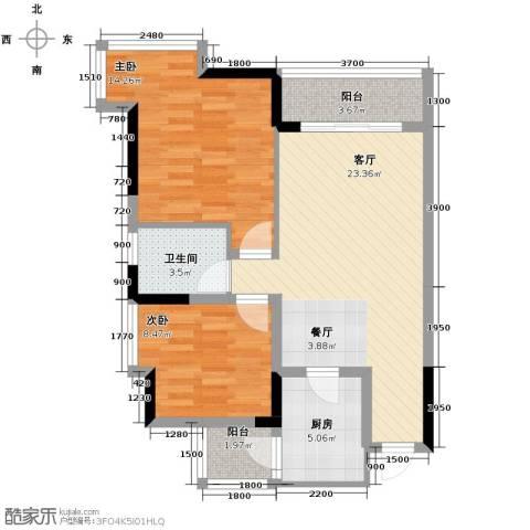 大鼎第一时间2室1厅1卫1厨87.00㎡户型图