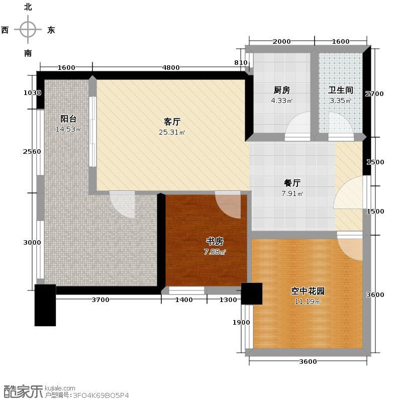 汉城壹号76.59㎡1号楼标准层B3户型2室2厅1卫