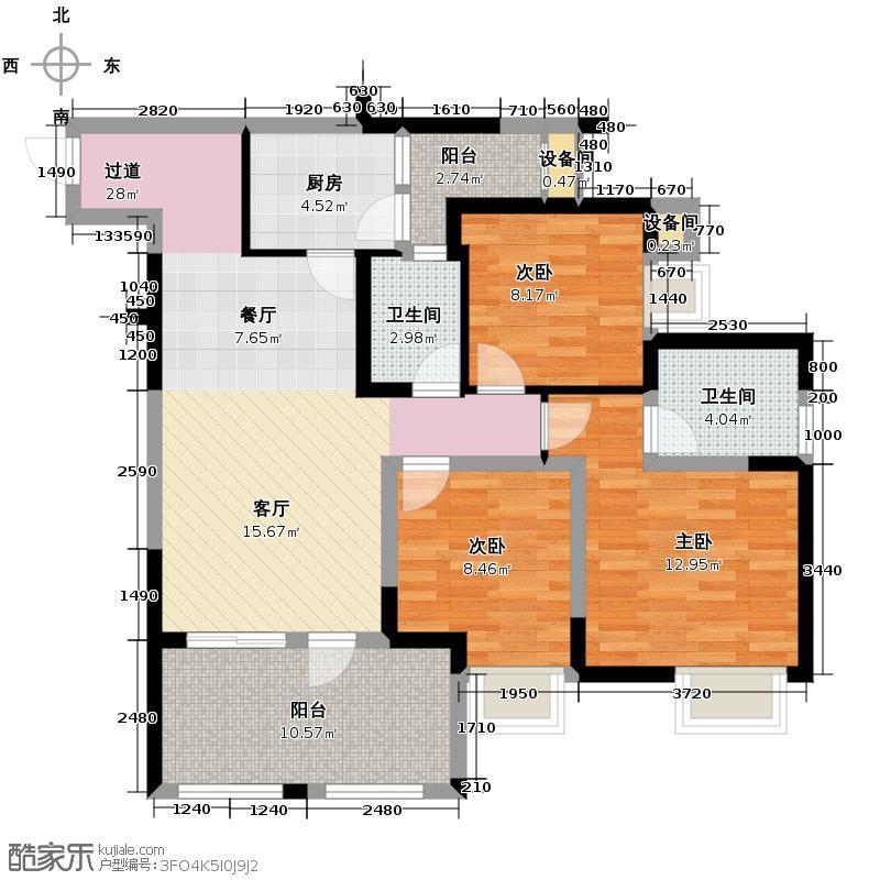 华宇金沙时代84.80㎡三期2号楼3-29层3号房户型3室2卫1厨