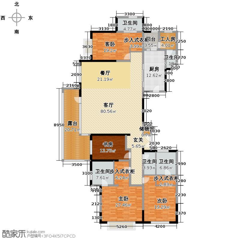 富力十号256.62㎡A2栋02标准层平面图(奇数层)户型10室