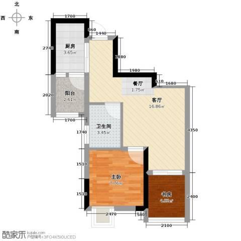 大鼎第一时间2室1厅1卫1厨57.00㎡户型图