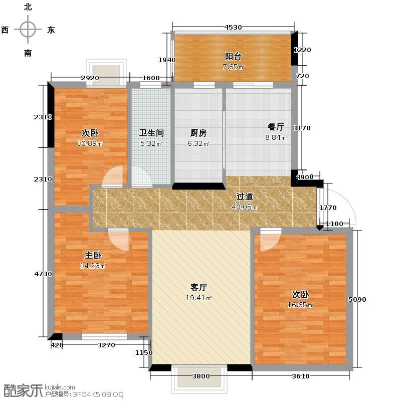 麓谷明珠93.17㎡8栋C6户型10室