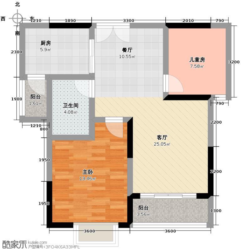 左岸美邻82.03㎡1#楼4-12楼B1户型2室1厅1卫1厨