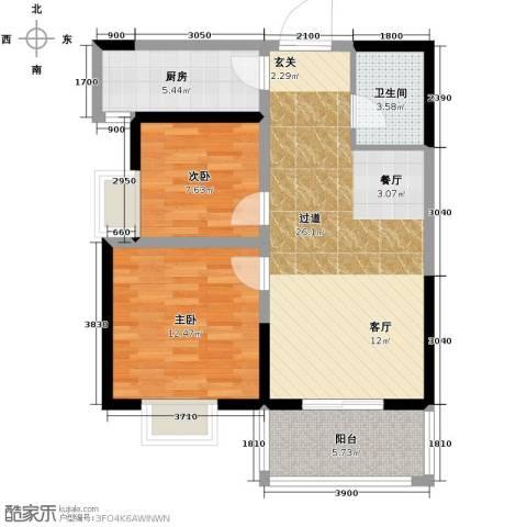 韶雨水韵星城2室2厅1卫0厨88.00㎡户型图