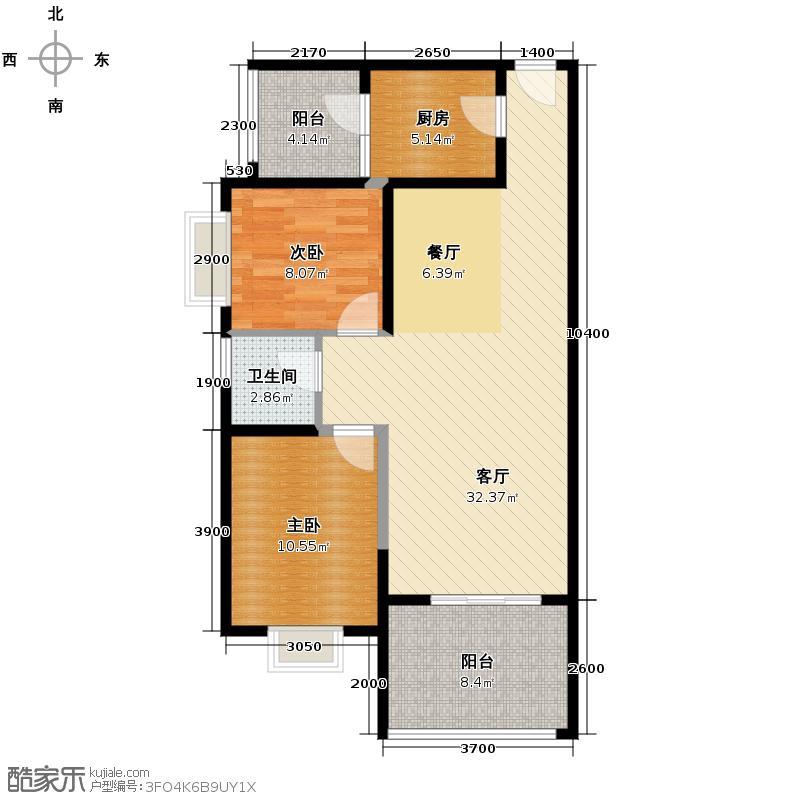 首创国际城85.00㎡三期北7号楼A1户型2室1厅1卫1厨