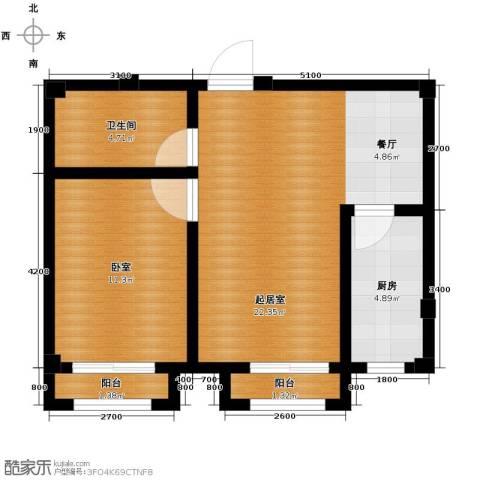 富森悠然生活1室1厅1卫0厨58.00㎡户型图