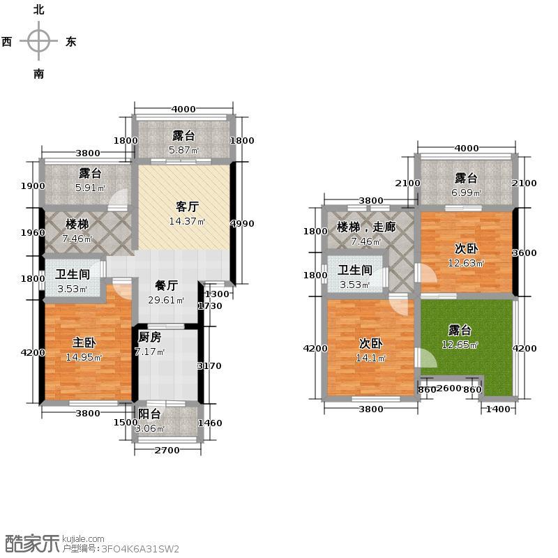 唐公馆119.00㎡一期A2户型3室2厅2卫