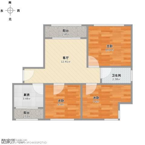 浦江东旭公寓3室1厅1卫1厨63.00㎡户型图