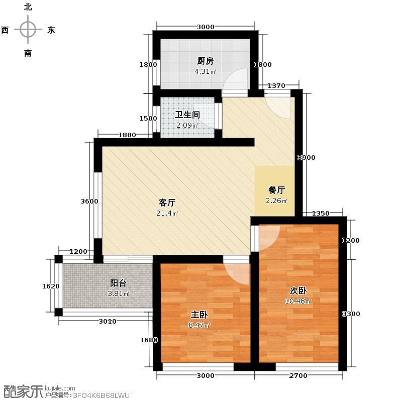 棕榈湾59.47㎡户型2室1厅1卫1厨