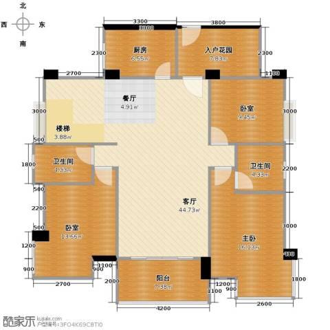 景湖春晓1室1厅2卫1厨155.00㎡户型图