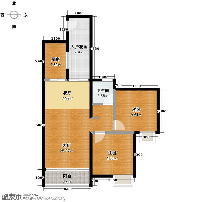 长江楚韵80.00㎡T1B户型2室2厅1卫