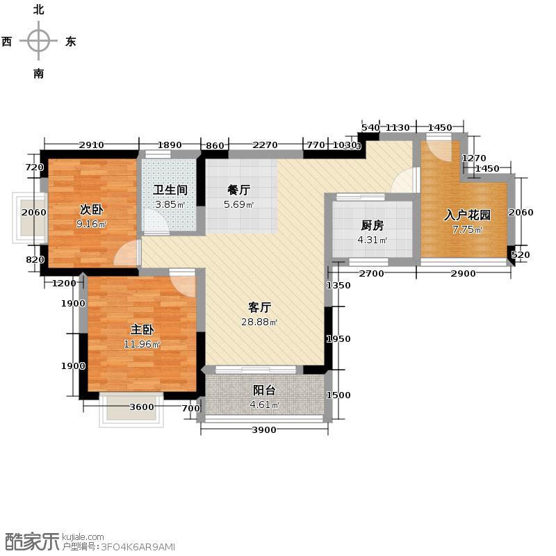 恒通御景天都74.45㎡一期1号楼标准层6号房户型2室1厅1卫1厨