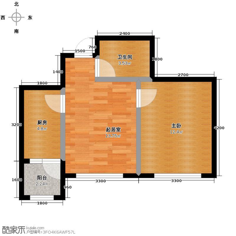 泰达星海湾52.00㎡一期户型1室1厅1卫