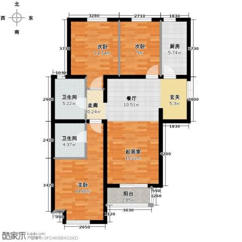 泰达时尚旺角3室2厅2卫0厨126.00㎡户型图