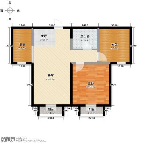 双发金玺城2室2厅1卫0厨88.00㎡户型图