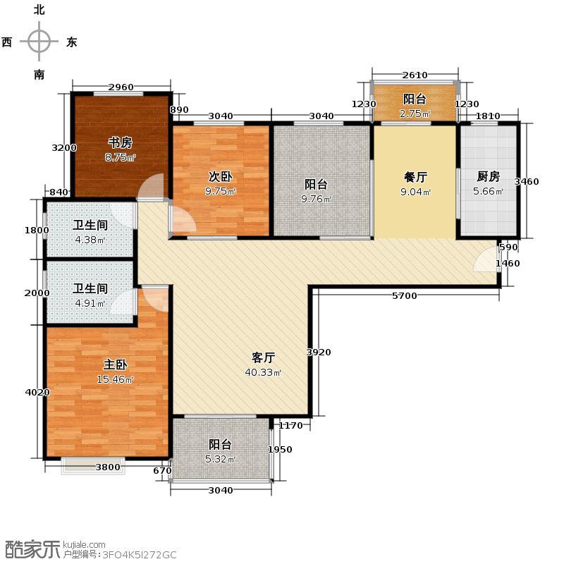中海曲江碧林湾139.00㎡户型3室1厅2卫1厨