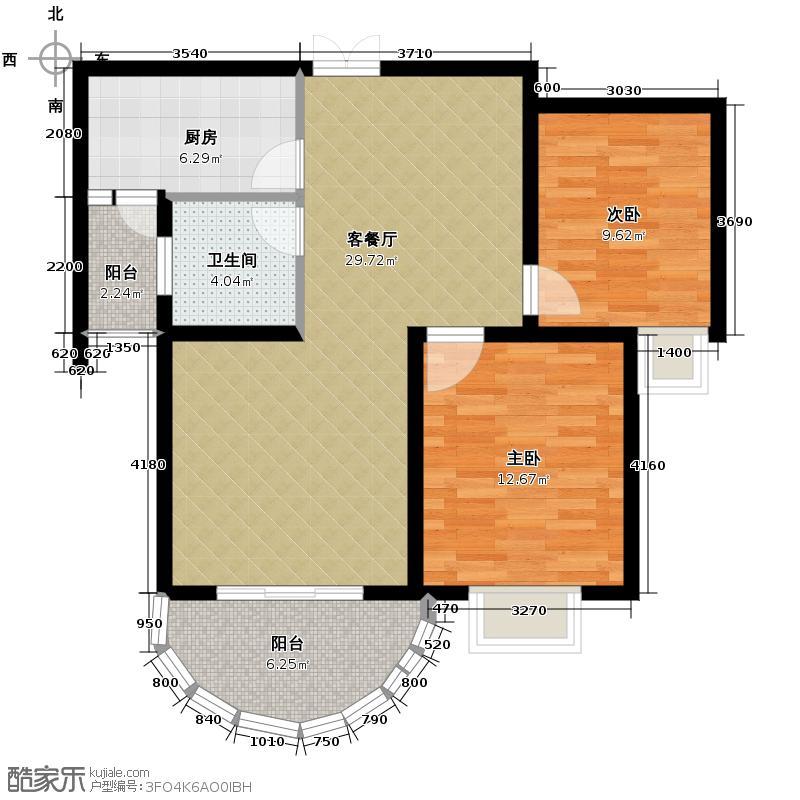 东城一品92.32㎡2B户型2室2厅1卫