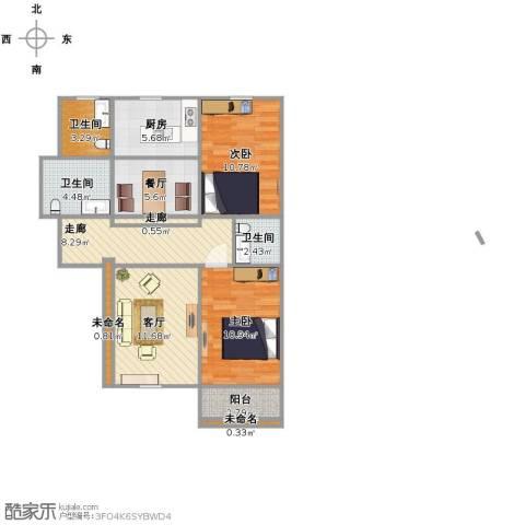 丽景蓝湾2室2厅3卫1厨94.00㎡户型图