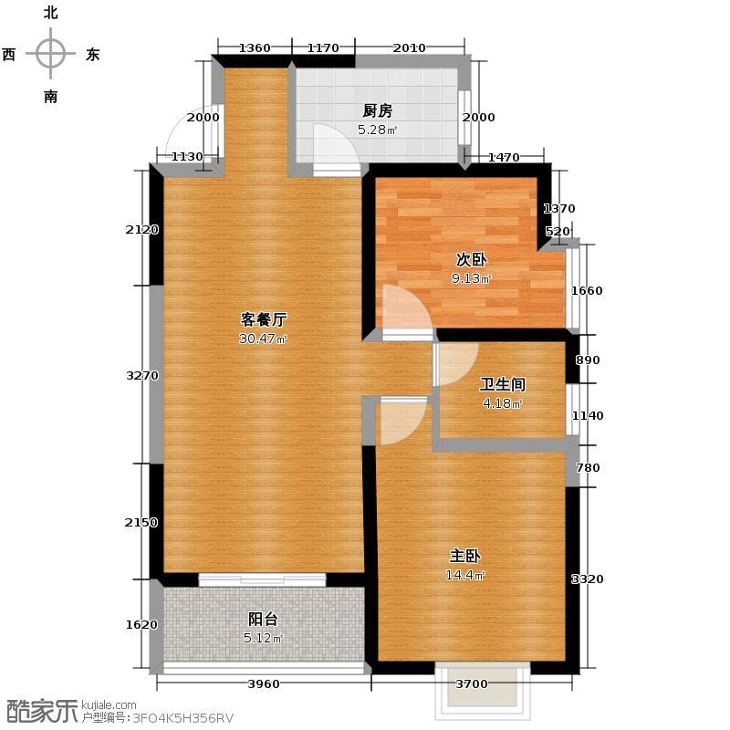 金泰假日花城94.00㎡在售四期悦园B南向主卧双厅明卫户型2室1厅1卫1厨