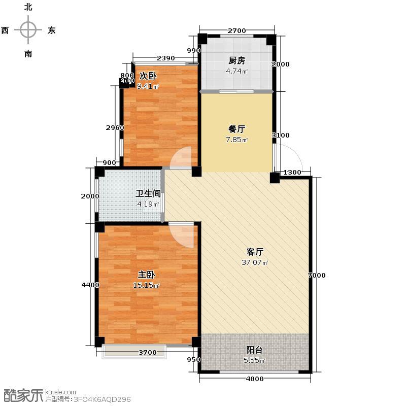 祥生柏景湾82.00㎡B平层户型2室2厅1卫