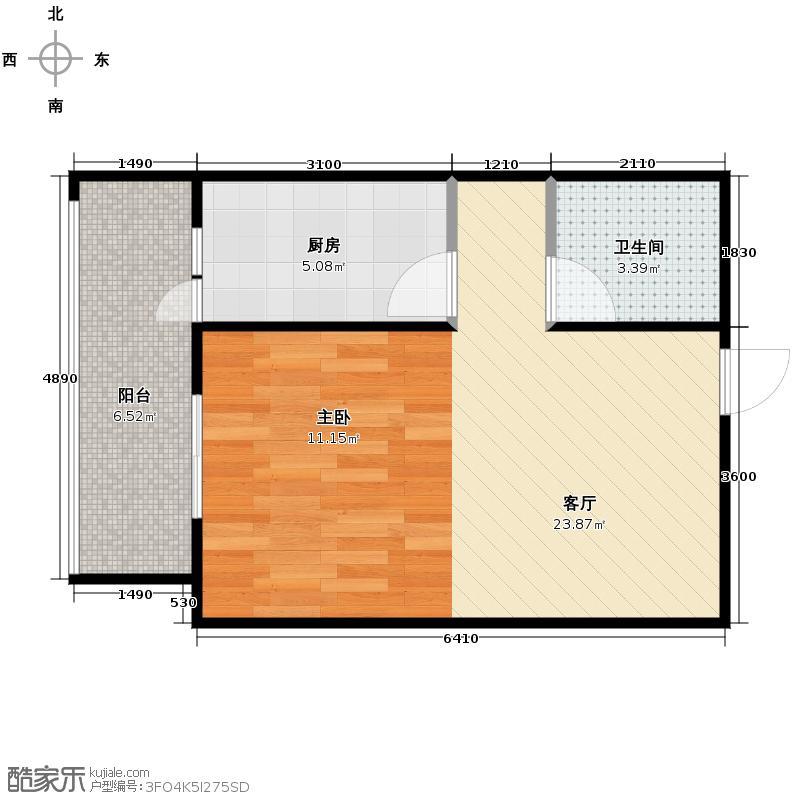 大鼎世纪滨江37.82㎡一期2栋标准层3号房户型1室1厅1卫