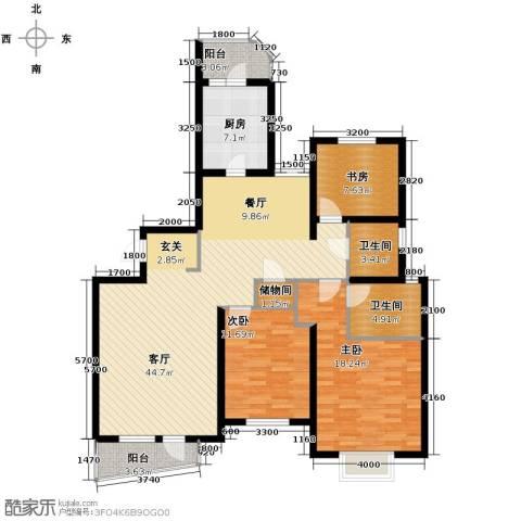 仁恒海河广场3室2厅2卫0厨149.00㎡户型图