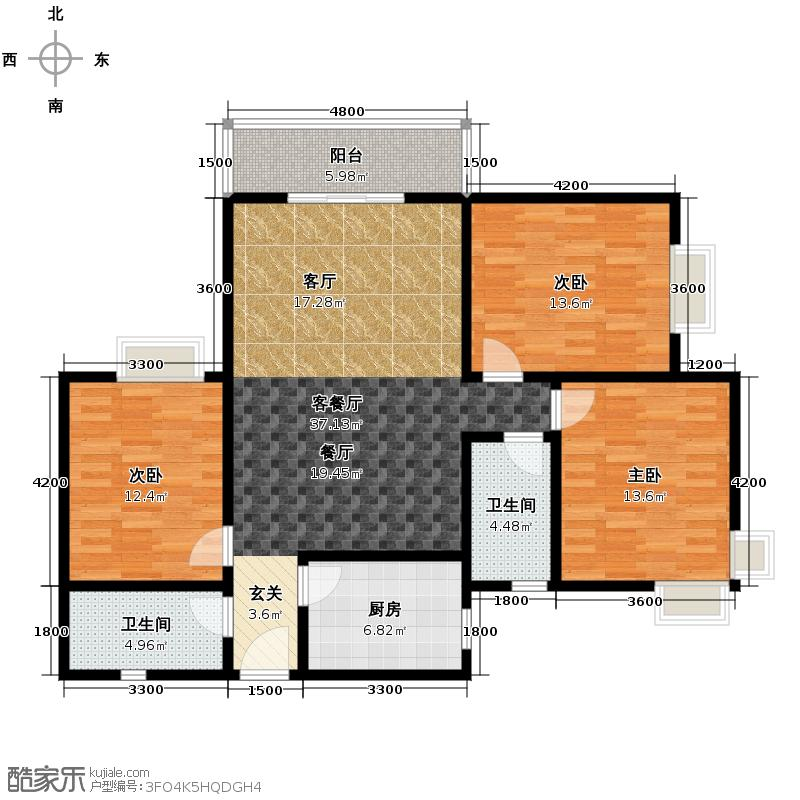 晟方佳苑135.02㎡A户型3室1厅2卫1厨