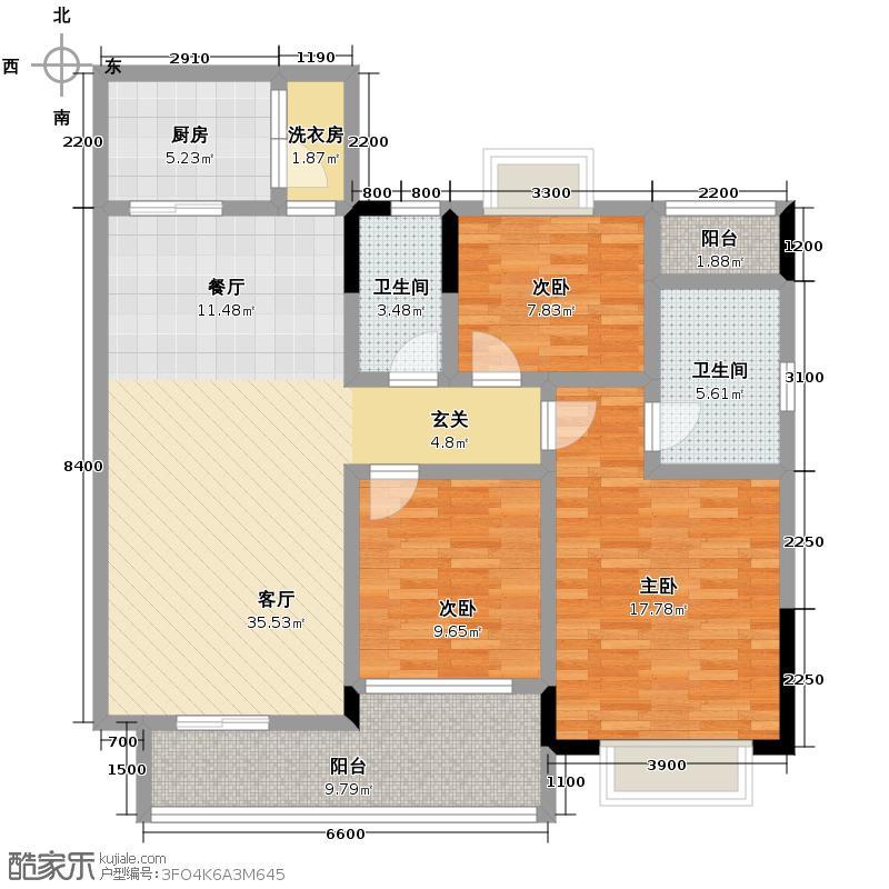 富力金港城126.00㎡c2-c6栋01单元户型10室