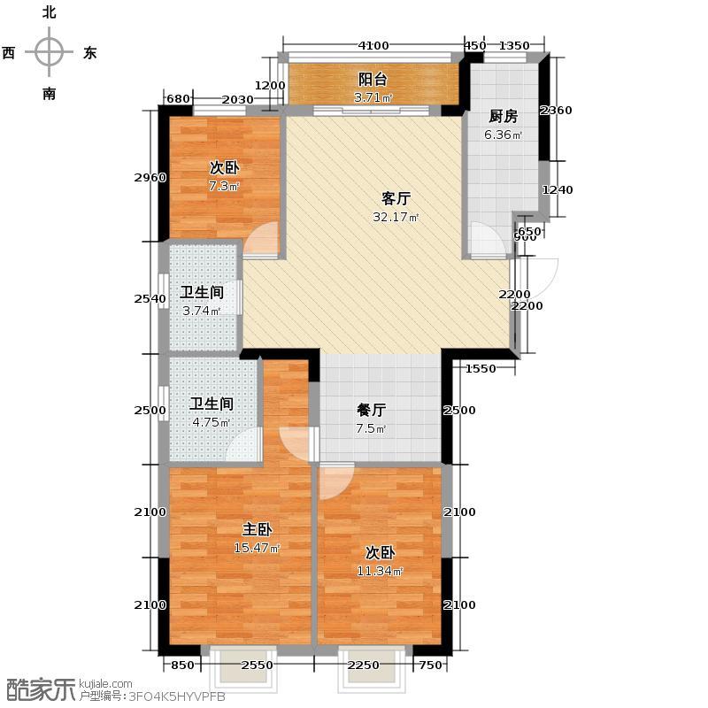 联美品格111.00㎡C6户型3室2厅2卫