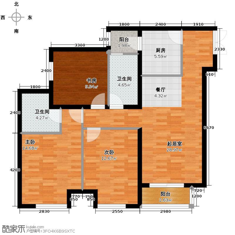 泰达时尚旺角128.00㎡A1标准层户型3室2厅2卫