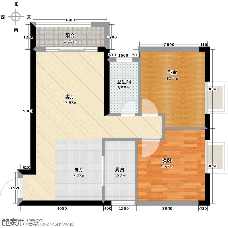 中城丽景香山87.09㎡E户型2室2厅1卫