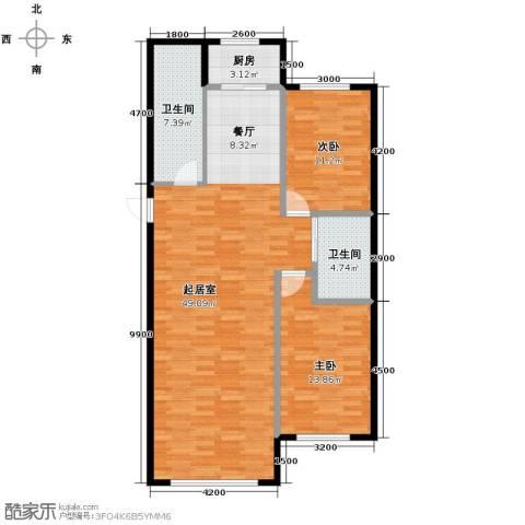 御景名家2室2厅2卫0厨121.00㎡户型图