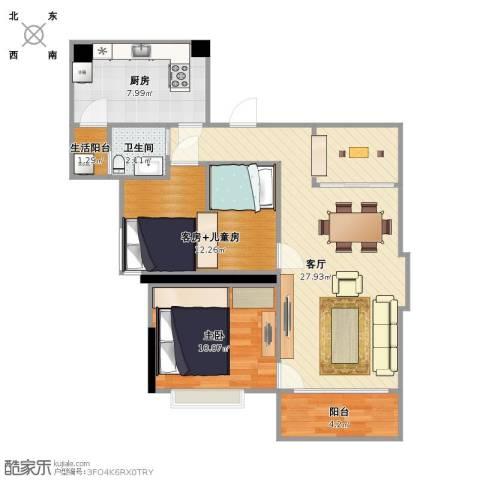 天雅居1室1厅1卫1厨90.00㎡户型图